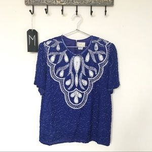Vintage Exotica | Cobalt Blue Beaded Top | M